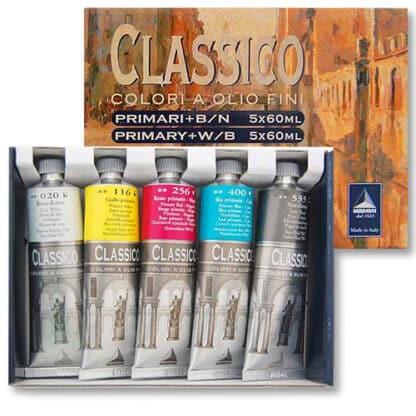 Набор масляных красок Classico 052 5 цветов по 60 мл картонная коробка Maimeri Италия
