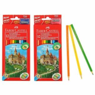 Набор цветных карандашей «Замок и рыцари» 12 цветов (точилка) Faber-Castell