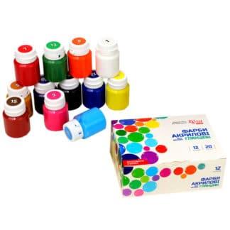 Набор глянцевых акриловых красок для декора 12 цветов по 20 мл 90747258 Rosa Украина