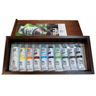 Подарочный набор масляных красок 10х20 мл дерево (13х30см)  Renesans
