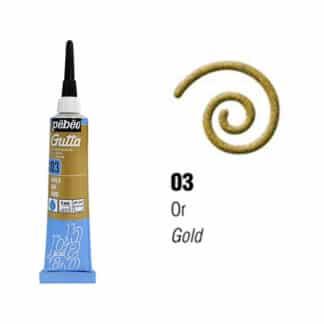 Контур (резерв) по ткани на водной основе Gutta 03 золото 20 мл Pebeo