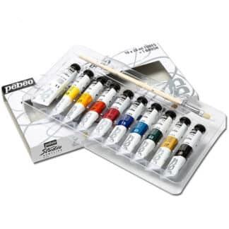 Набор акриловых красок Studio 10 цветов по 20 мл (с кистью) картонная коробка Pebeo
