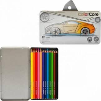 3100-12TN Карандаши цветные 12 цв. шестигранные в  метал. пенале «ColorCore» Marco