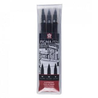 POXFVK-P3#49  Набор линер-ручка Pigma Pen, черный, 3 шт   Sakura
