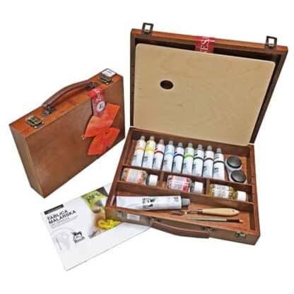 Подарочный набор масляных красок 9х60 мл дерево (32х38см)  Renesans