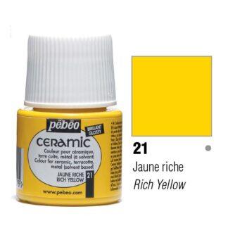 Краска-эмаль лаковая непрозрачная 021 Желтый насыщенный 45 мл Ceramic Pebeo